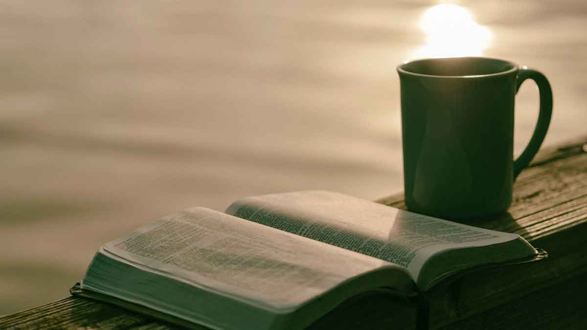 Coffe cup and bible on deck by water